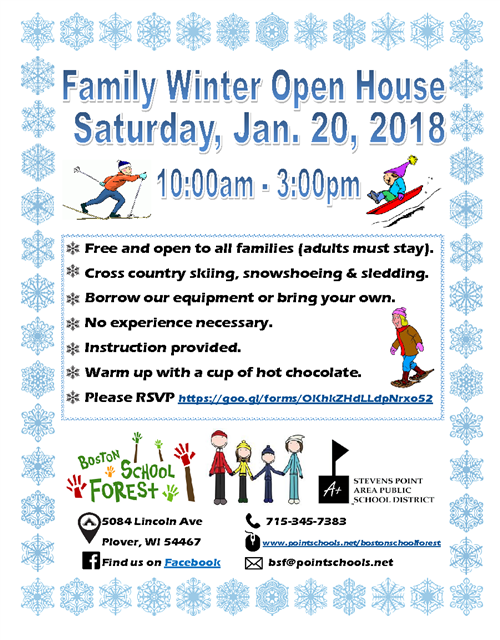 BSF Family Winter Open House Saturday Jan 20 10 a.m - 3:00 p.m.