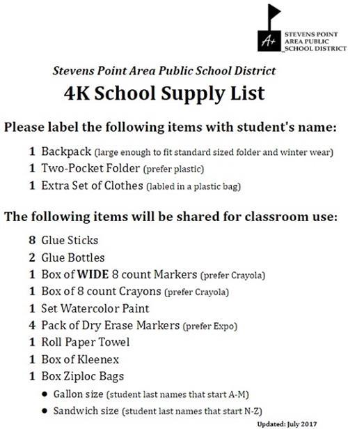 4K School Supply List
