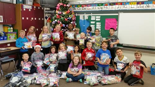 Students with Blessing Bags
