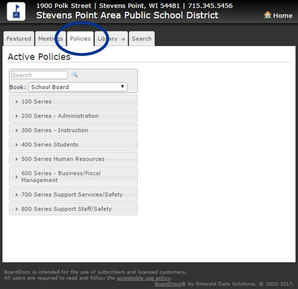 board docs policy screen shot